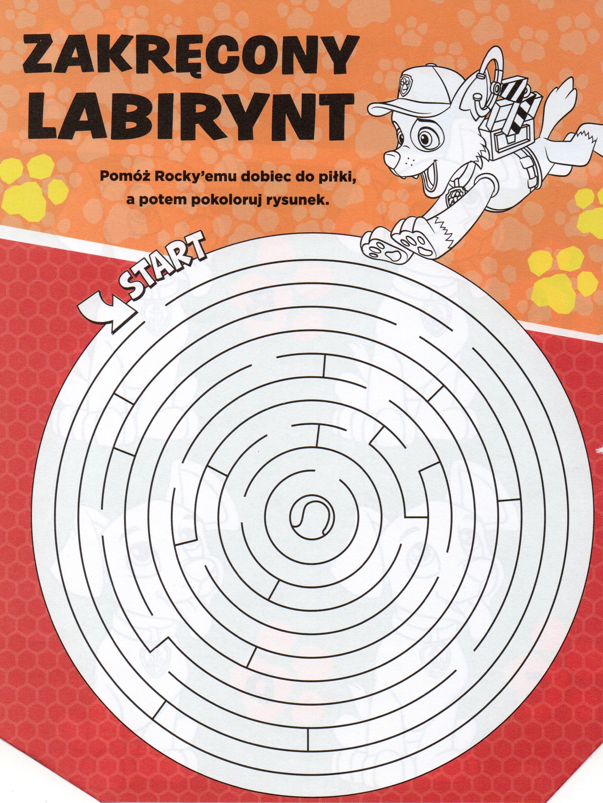 Labirynt psi patrol łamigłówki dla dzieci do druku
