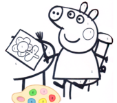 Świnka Peppa maluje kolorowanka do druku