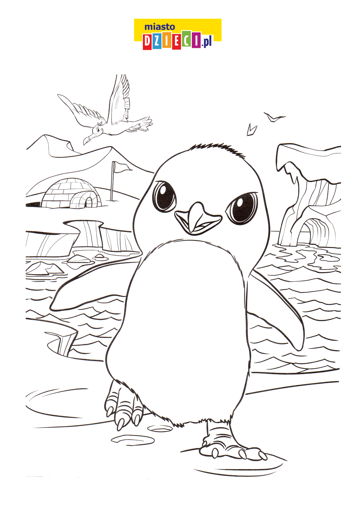 mały pingwinek - kolorowanka
