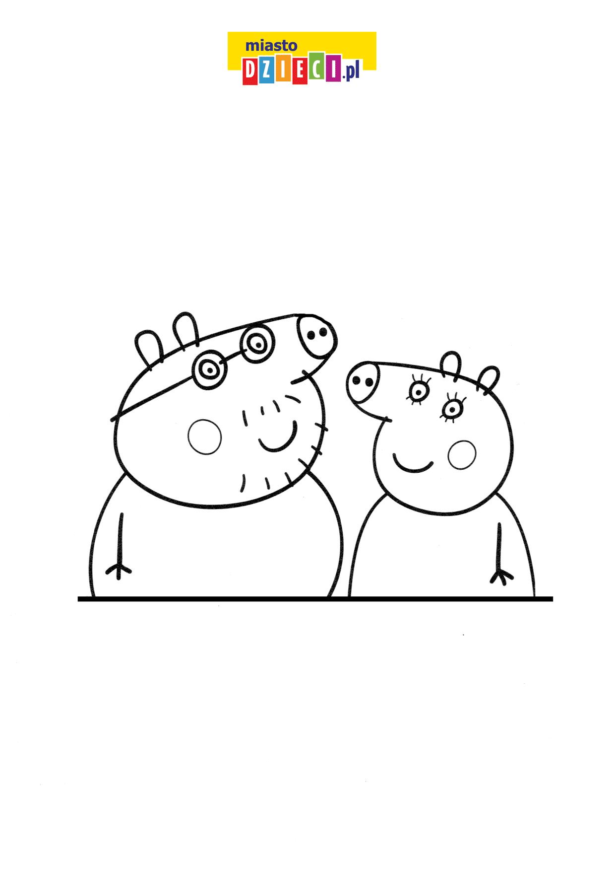 Tata Świnka i Mama Świnka rodzice Peppy kolorowana online