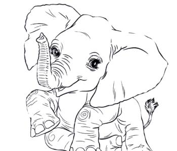 mały słonik do kolorowania malowanka online