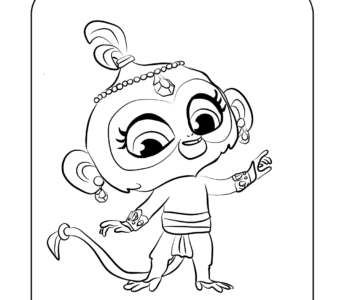 kolorowanka Shimmer i Shine małpka Tala malowanka dla druku