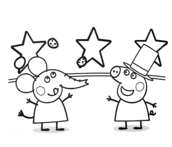 Świnka Peppa i Emily słoń kolorowanka online do druku
