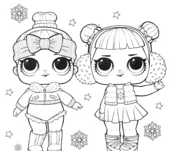 laleczki LOL zima kolorowanka do wydruku dla dzieci