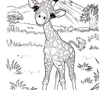mała żyrafa kolorowanka online do druku