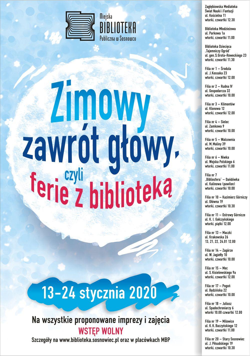 Zimowy zawrót głowy, czyli ferie z biblioteką 2020. Sosnowiec