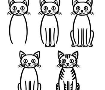 Jak narysować kota siedzącego szablony rysowania dla dzieci