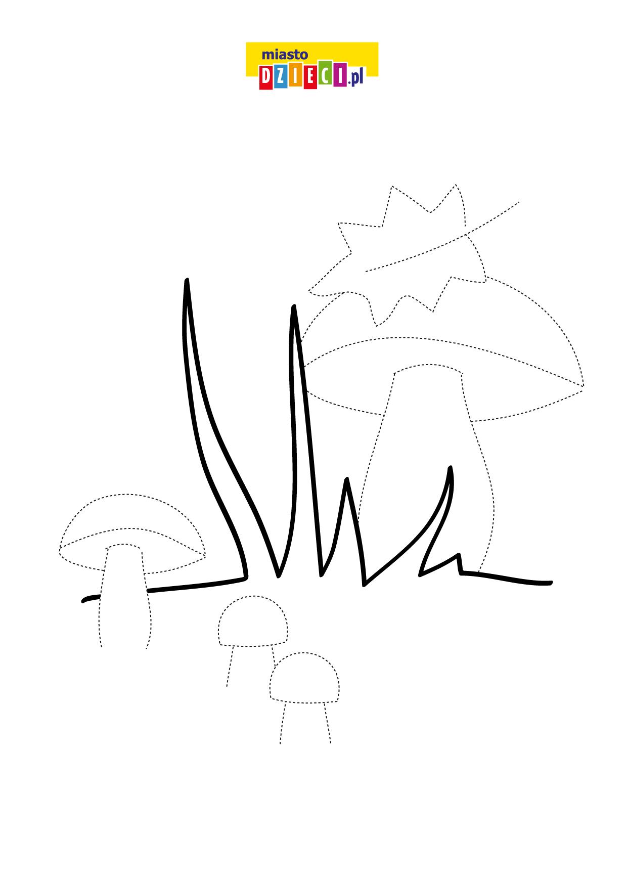 Rysowanie po śladzie jesień grzyby. Rysowanie po linii dla dzieci do druku, karty pracy