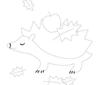 Rysowanie po śladzie jesień jeżyk. Rysowanie po linii do druku