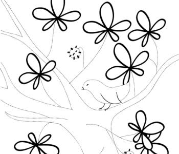 Rysowanie po linii jesień liście do druku malowanki