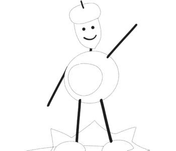 Narysuj po śladzie jesiennego ludzika z kasztanów rysowanie po linii karty pracy do druku