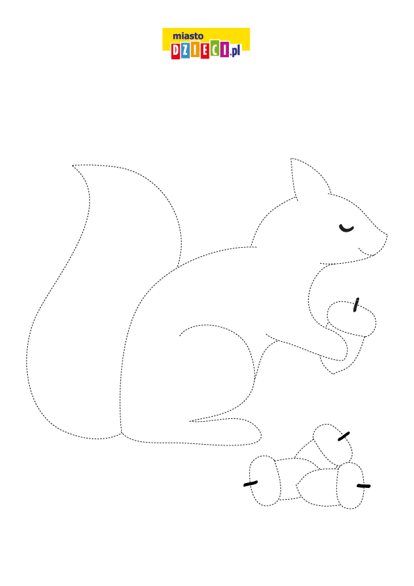 Narysuj po śladzie jesienną wiewiórkę. Rysowanie po linii dla dzieci do druku