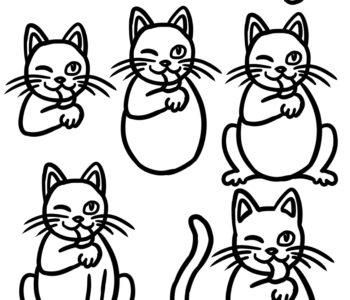 Jak narysować uśmiechniętego kota ro po roku. Szablony dla dzieci do druku