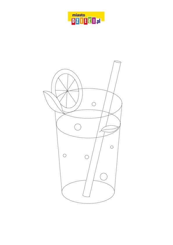 Rysowanie po śladzie lato napój do wydruku