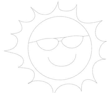 Słońce rysowanie po śladzie do druku. Letnie malowanki i rysowanie po linii dla dzieci