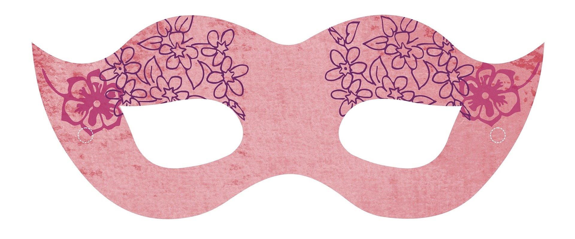 Różowa maska karnawałowa do druku dla dzieci