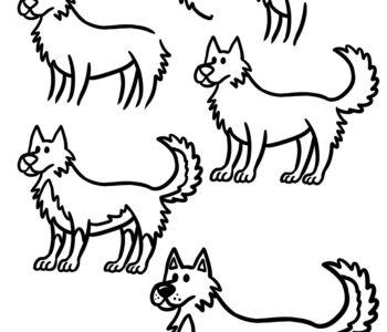 Jak narysować pieska krok po kroku, szablony rysowania dla dzieci do wydruku