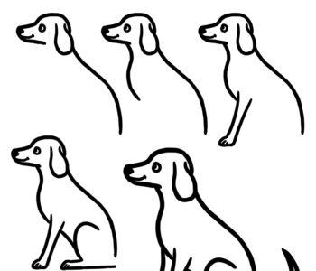 jak narysować siedzącego psa, szablony rysowania dla dzieci do wydruku