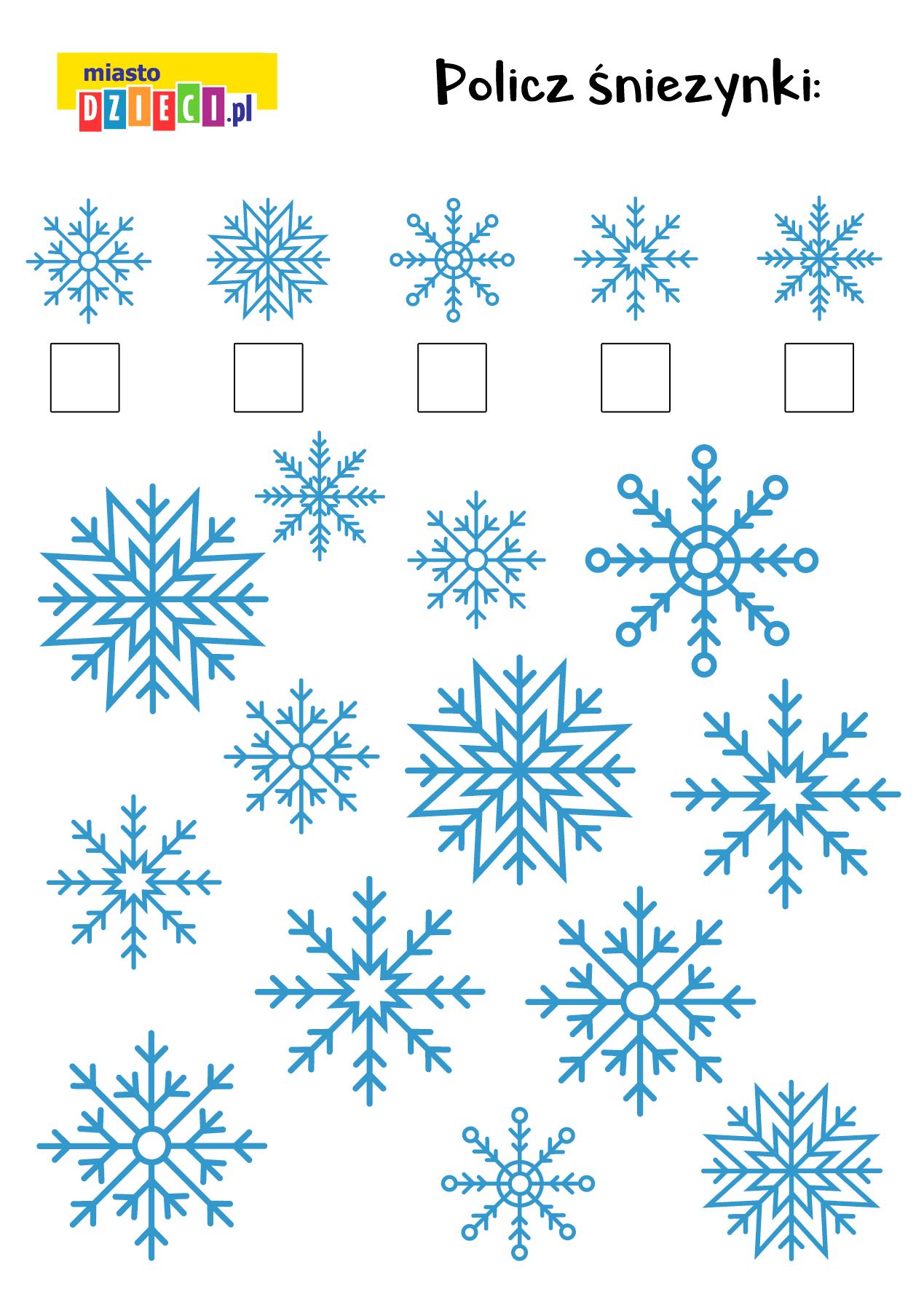 Policz śnieżynki zagadki matematyczne dla dzieci do wydruku