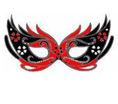 Czerwona maska karnawałowa dla dzieci do druku