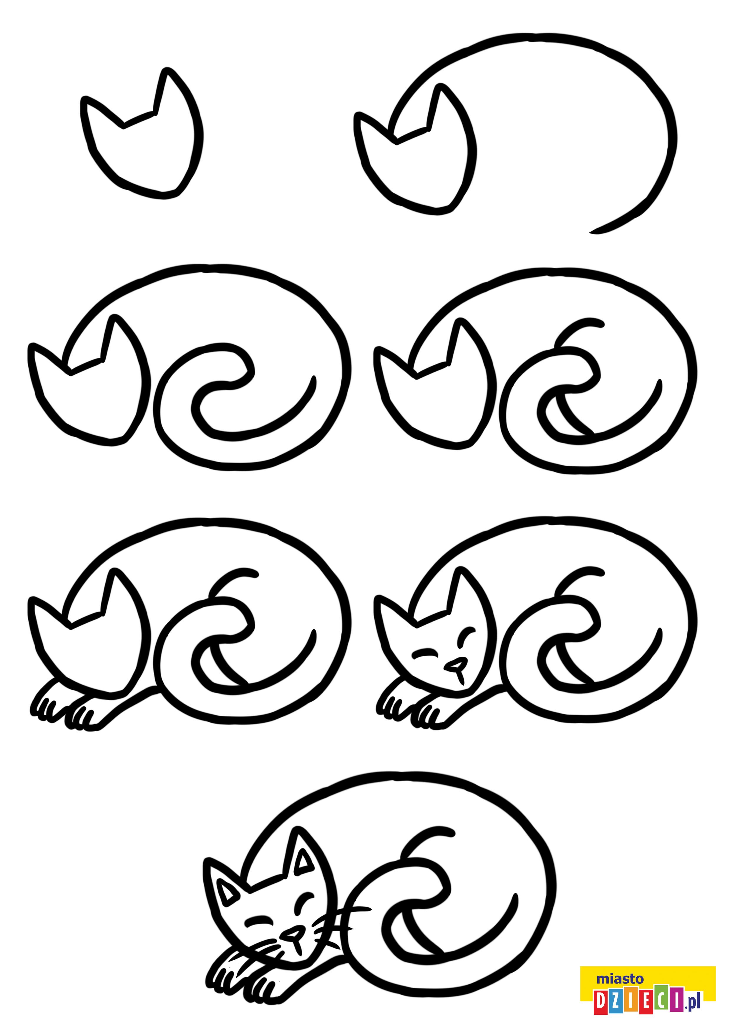 Jak narysować śpiącego kota szablon do druku dla dzieci