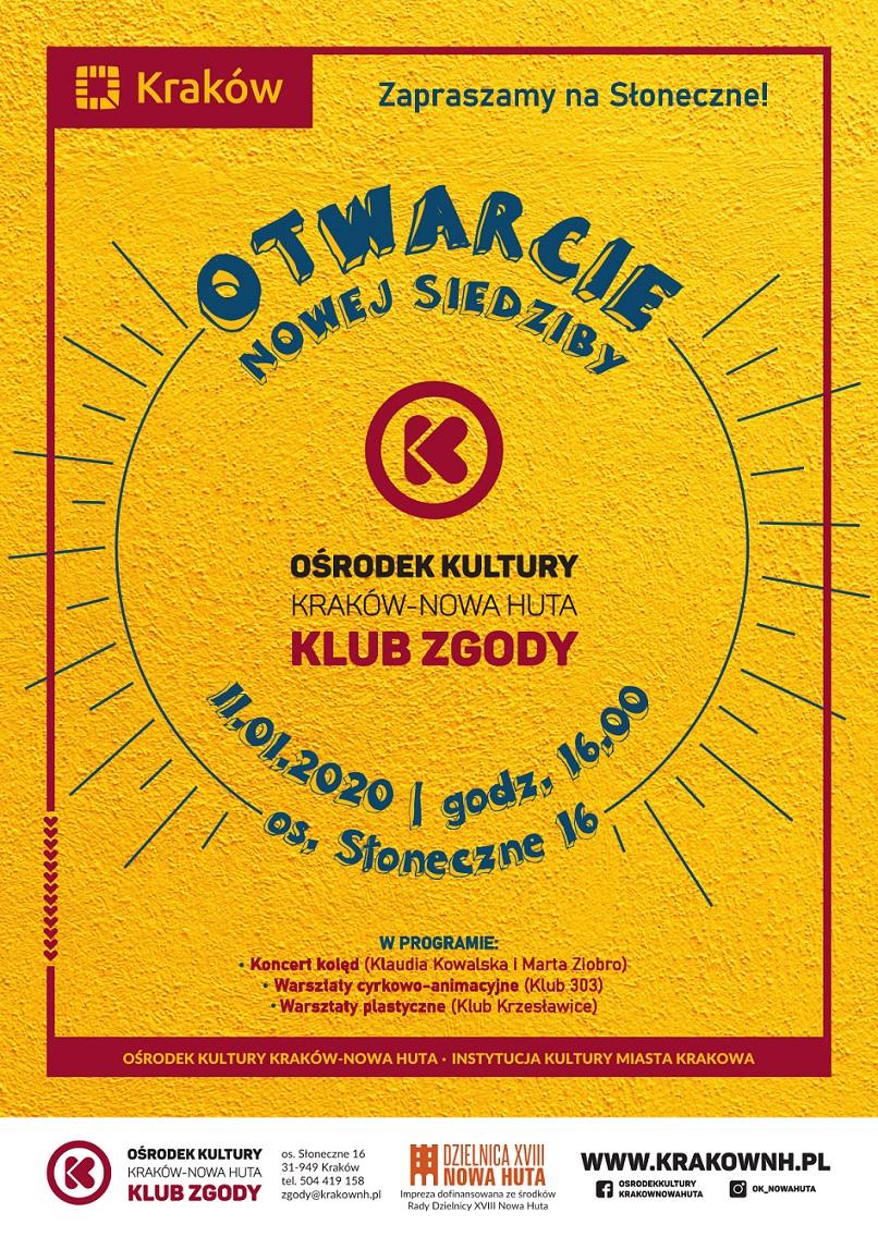 Otwarcie nowej siedziby Klubu Zgody Ośrodka Kultury Kraków-Nowa Huta