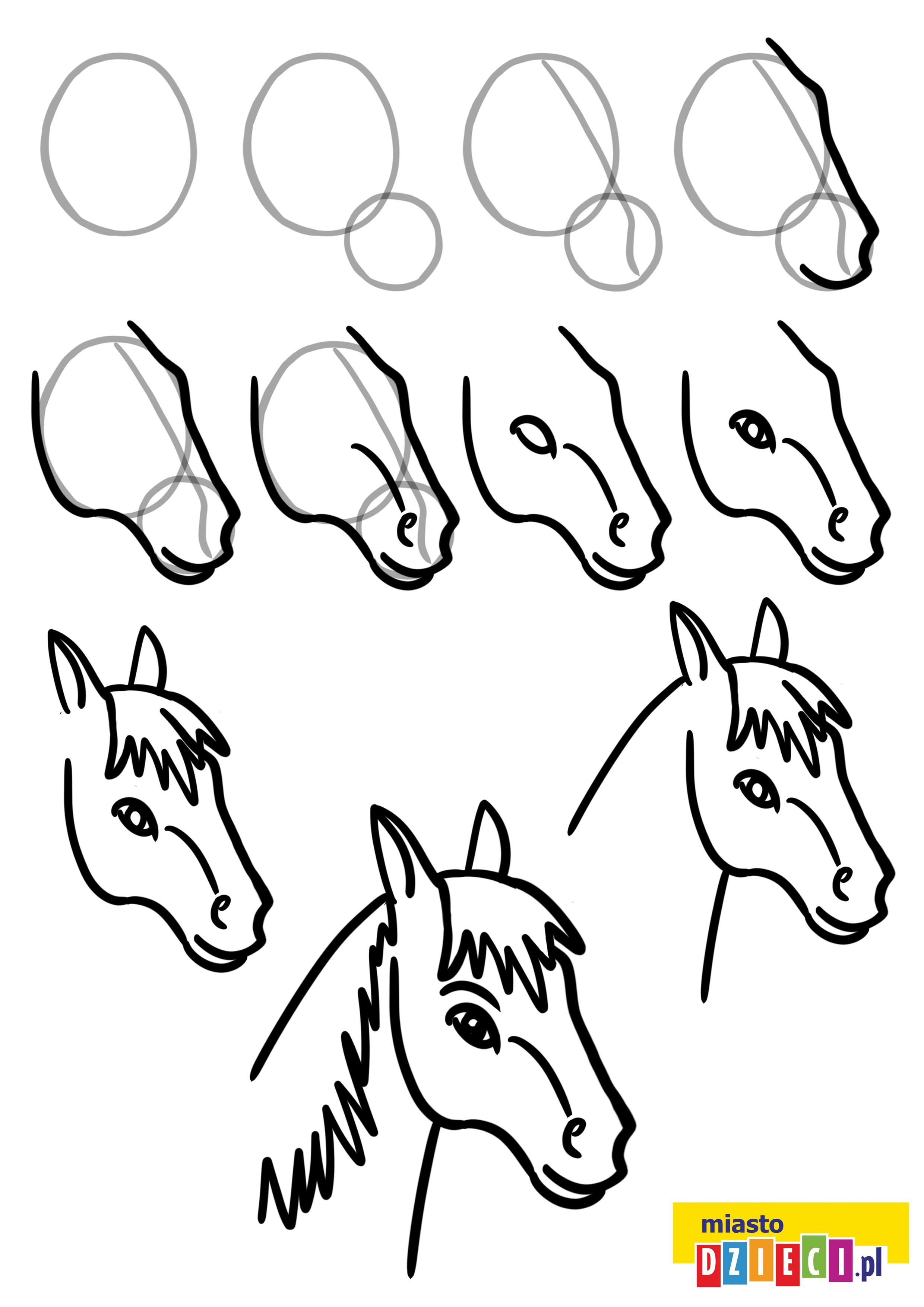Jak narysować głowę konia krok po kroku instrukcja rysowania portretu konia do druku