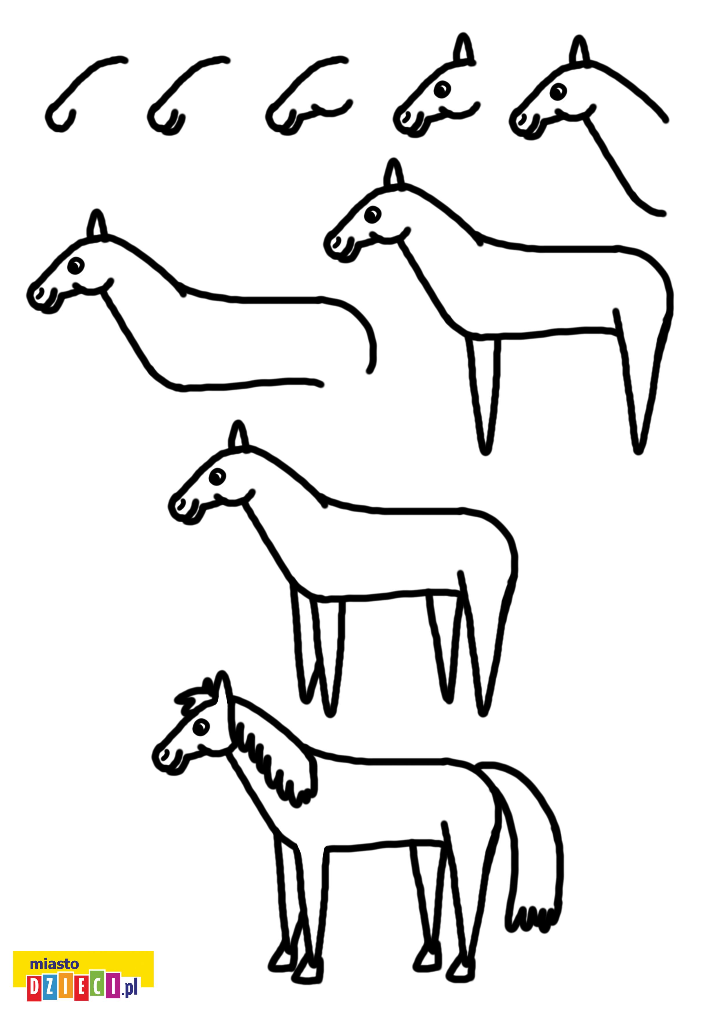 jak narysować konia krok po kroku instrukcja rysowania