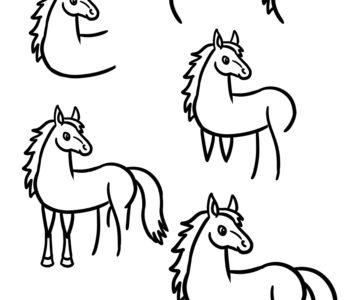 Jak narysować konika instrukcje rysowania dla dzieci do druku