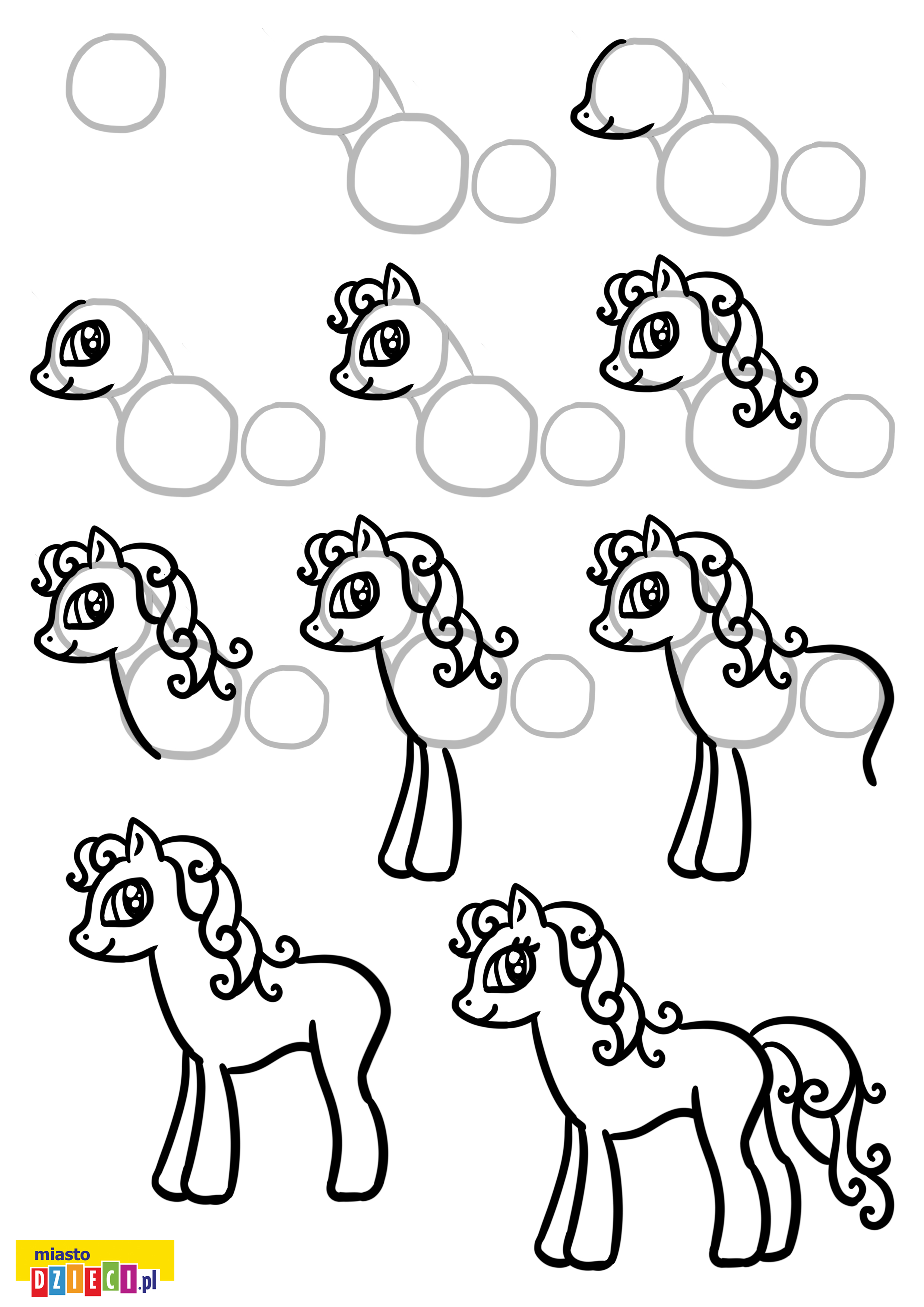 Jak narysować kucyka pony instrukcja rysowania dla dzieci krok po kroku
