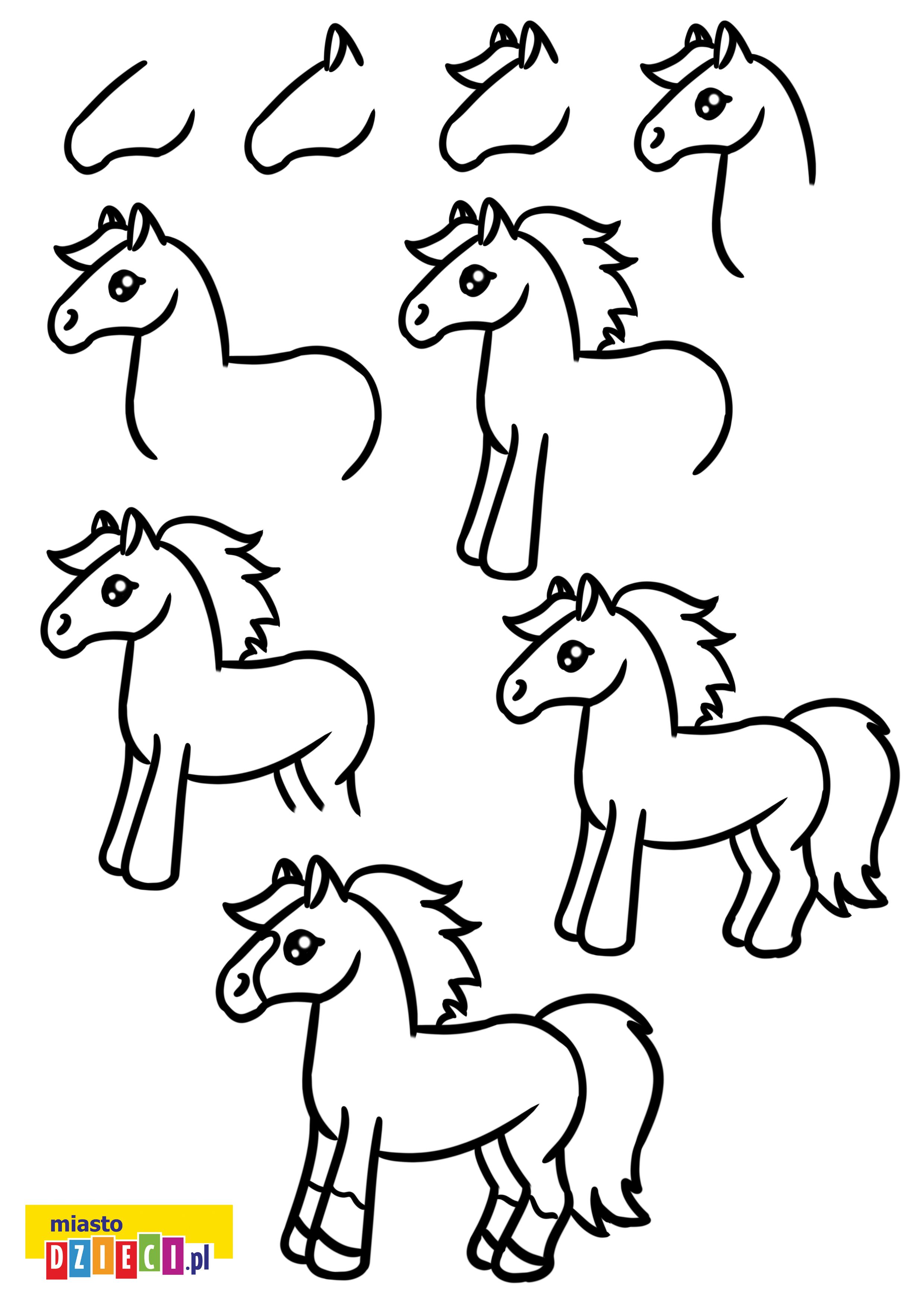 Jak narysować kucyka krok po kroku instrukcja rysowania szablon do druku