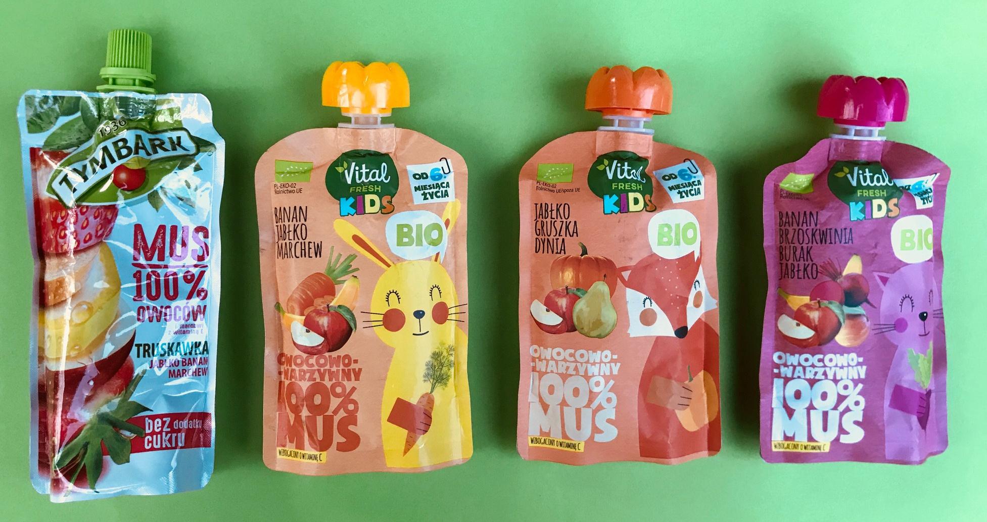 zdrowe przekąski ze sklepu dla dzieci musy owocowo-warzywne