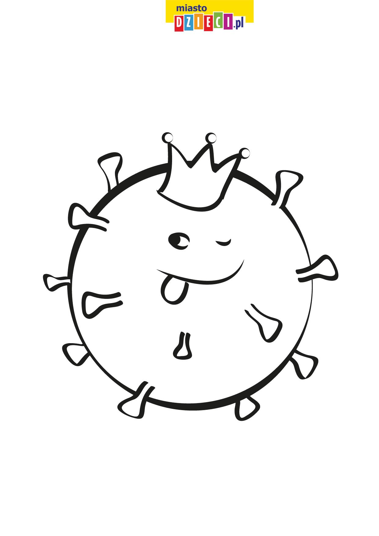 Koronawirus kolorowanka do druku dla dzieci, malowanki z wirusami do pobrania