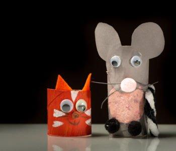 kotek myszka z rolek po papierze zabawy plastyczne dla dzieci