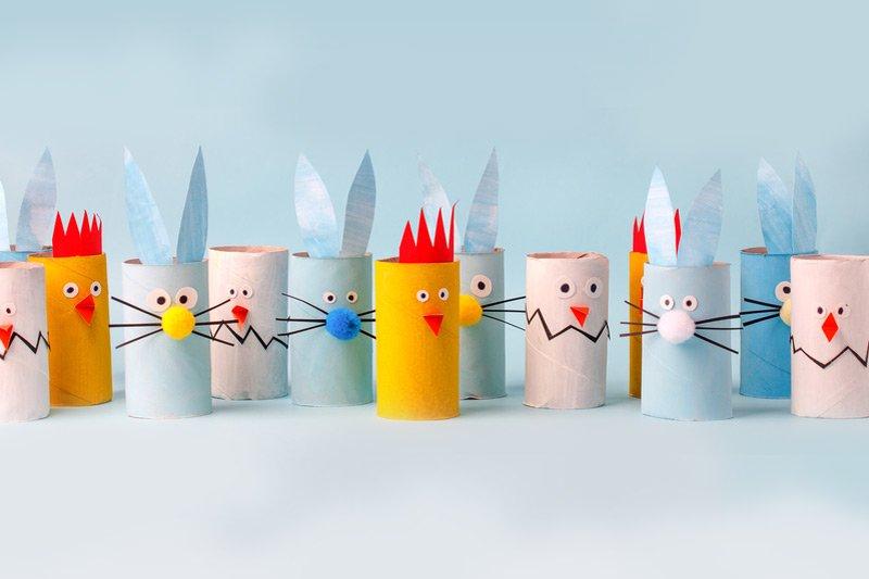 Kurczak z rolek popapierze wielkanocne dekoracje dla dzieci
