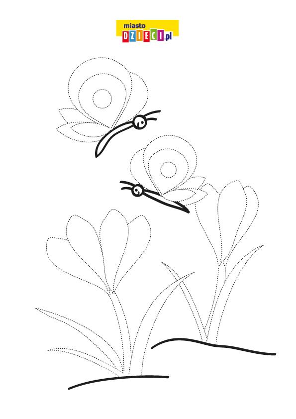 Wiosenne motyle rysuj po linii do wydrukowania