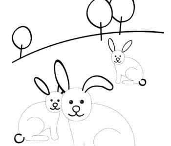 Wiosna króliki rysuj po śladzie do druku