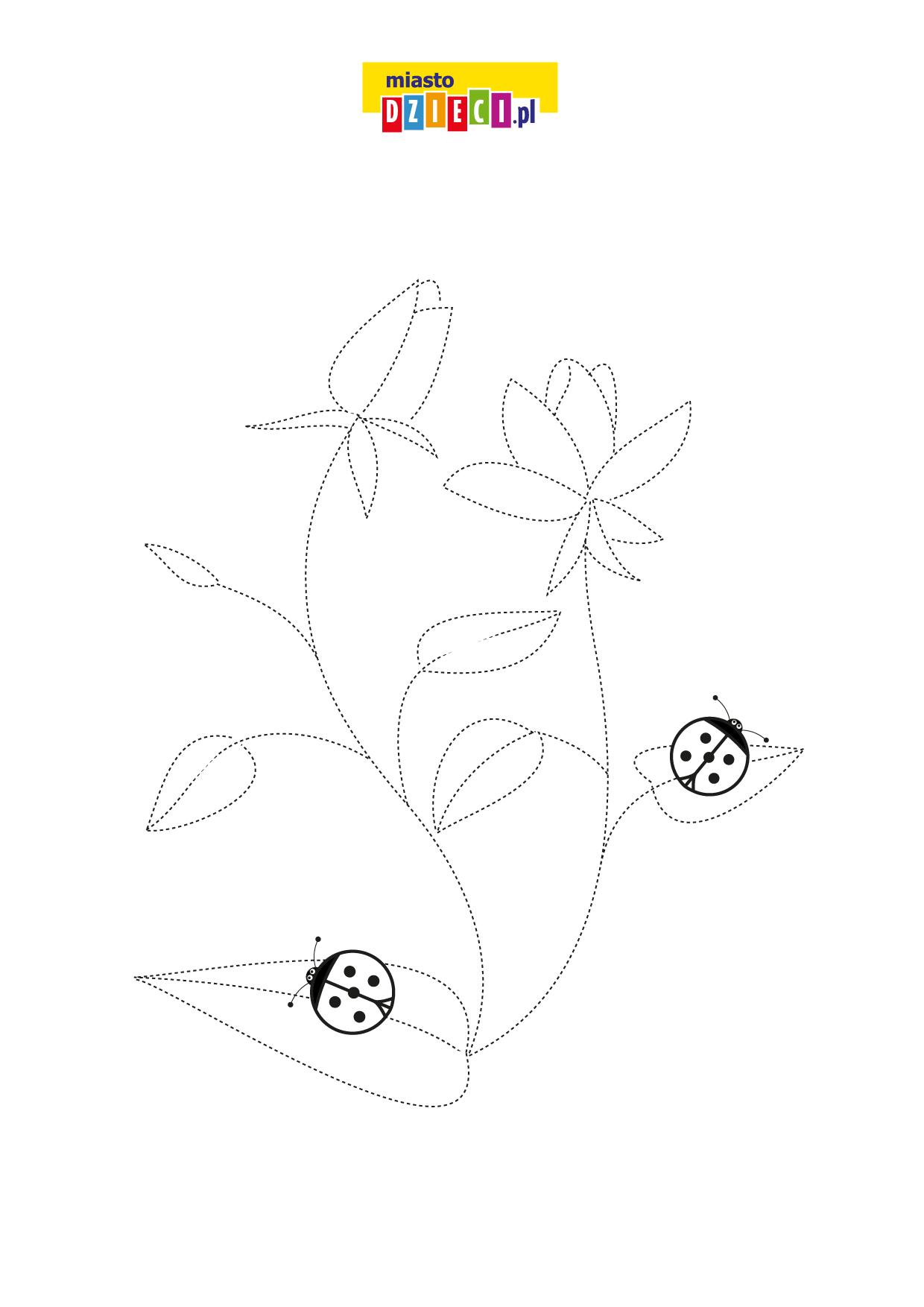 Wiosna rysuj po linii wiosenny kwiatek