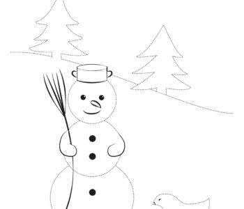 Rysuj po linii zima balwanek do pobrania i druku