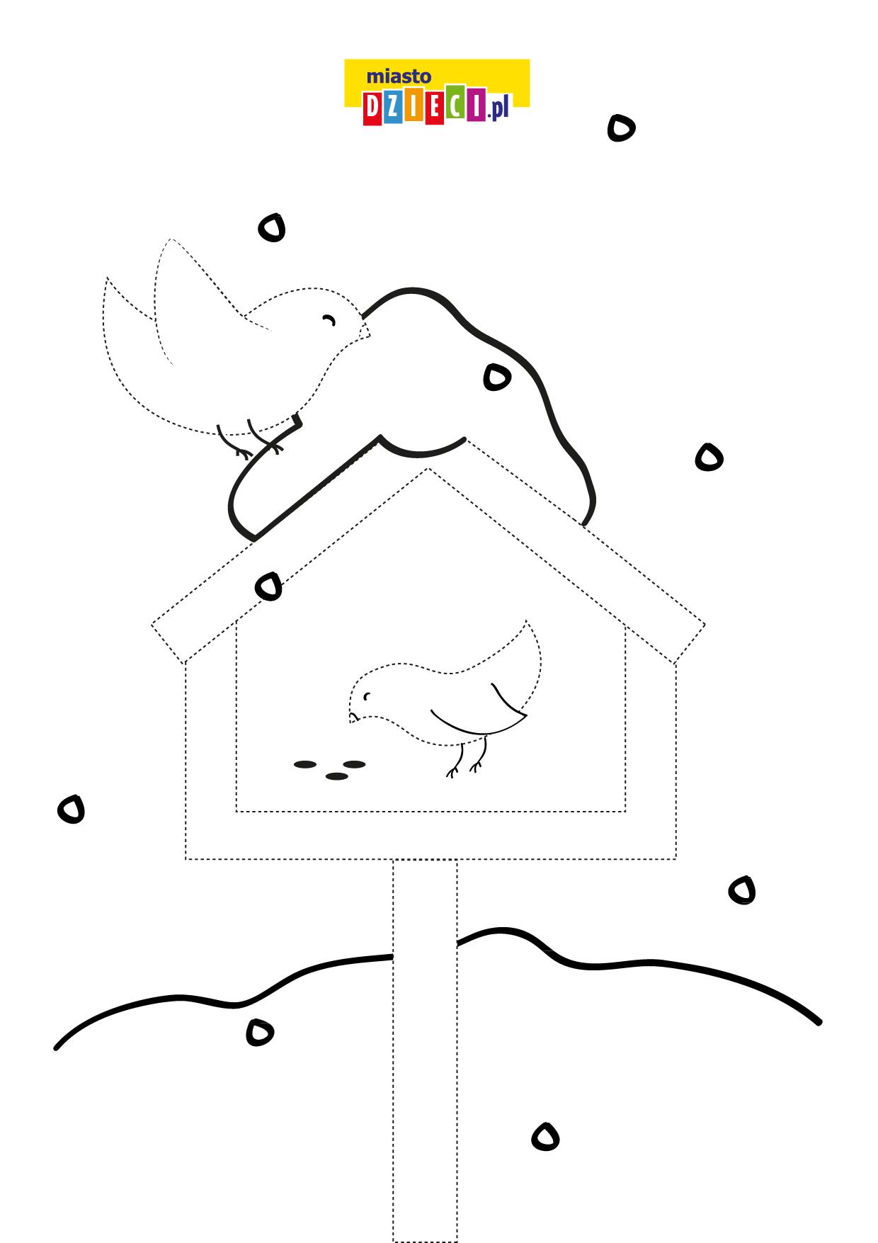 Zimowy karmnik, rysuj po linii, kolorowanka do druku