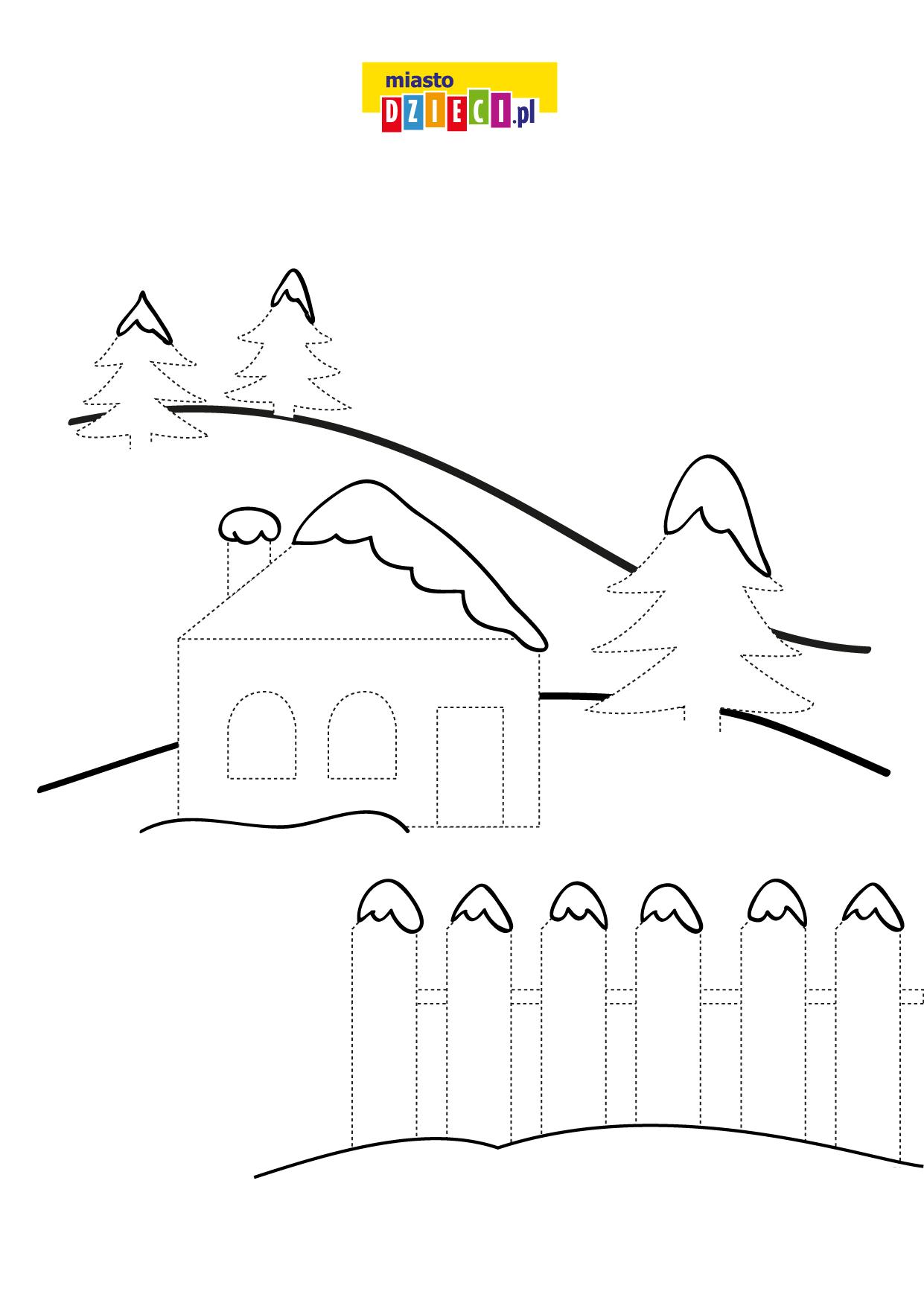 Zima Rysuj po śladzie zimowy obrazek do wydruku