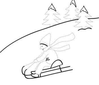 Zima Rysuj po śladzie chłopiec na sankach, kolorowanka do druku