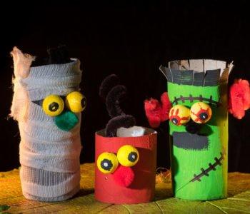 Zabawki z rolek po papierze toaletowym, dekoracje na halloween proste diy dla dzieci