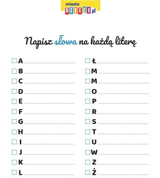 karta pracy alfabet nauka pisania do pobrania