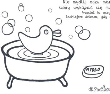 kolorowanka o kąpaniu zasady higieny dla dzieci do druku na kolorowankach