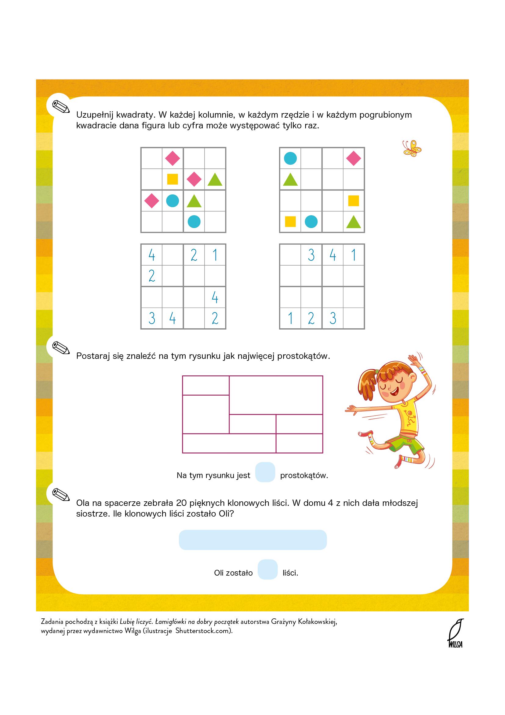 Karta pracy do pobrania z zadaniami matematycznymi dla dzieci. Bezpłatne materiały edukacyjne