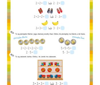 Nauka mnożenia - karta pracy do druku dla dzieci. Materiały edukacyjne do pobrania matematyka