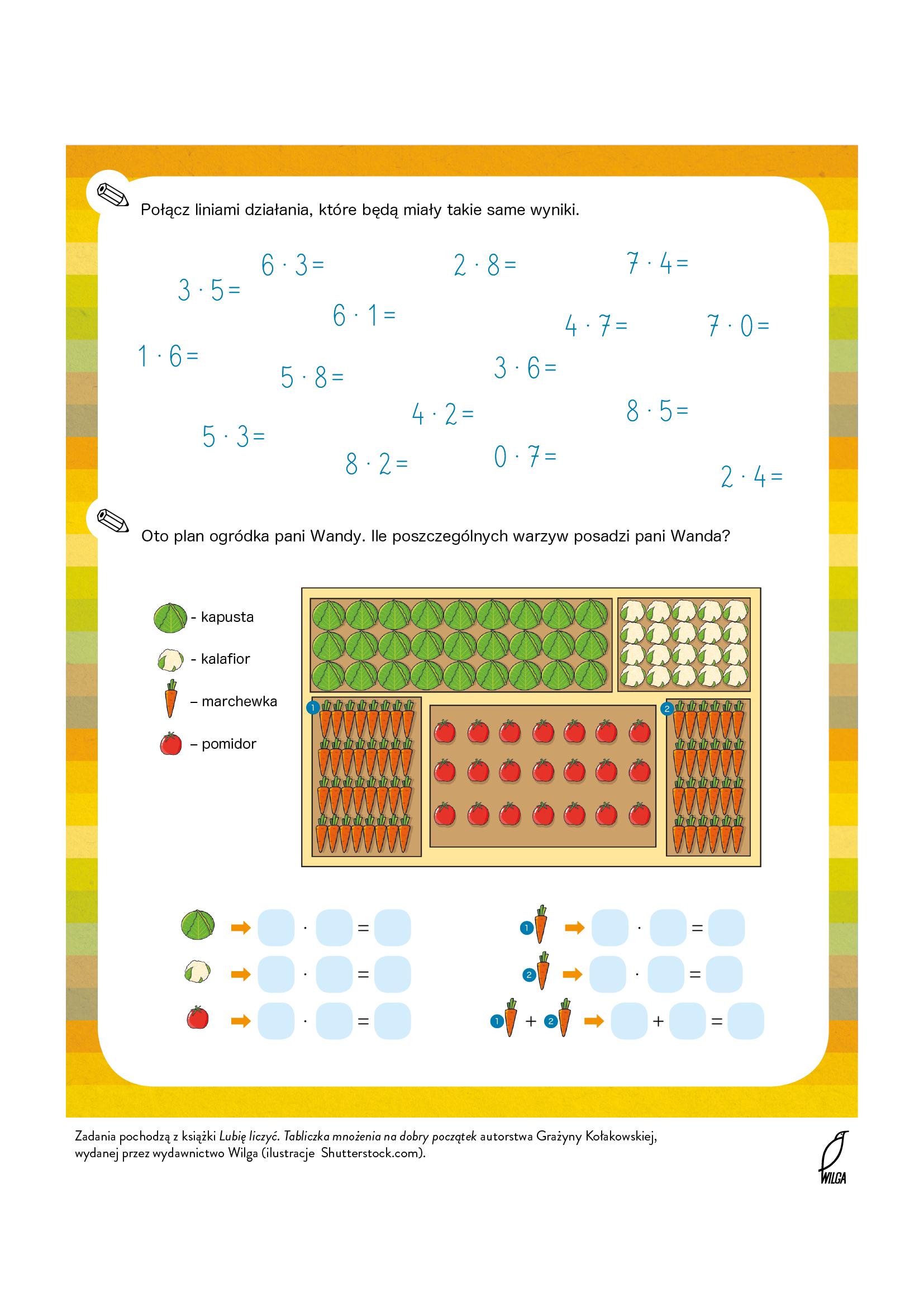 Nauka tabliczki mnożenia - karta pracy do druku. Bezpłatne materiały edukacyjne do pobrania