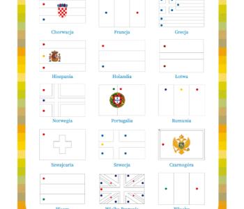 Pokoloruj flagi według wzoru, karta pracy do wydrukowania. Darmowe kolorowanki i zabawy edukacyjne