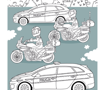 Policja kolorowanka, auto policyjne do kolorowania, Darmowe malowanki online